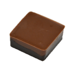 ARLEQUIN : Bonbon de chocolat lait et noir avec un coeur croquant de nougatine